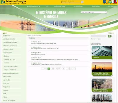 Botelheco site do minist rio de minas e energia ignora apag o for Ministerio de minas