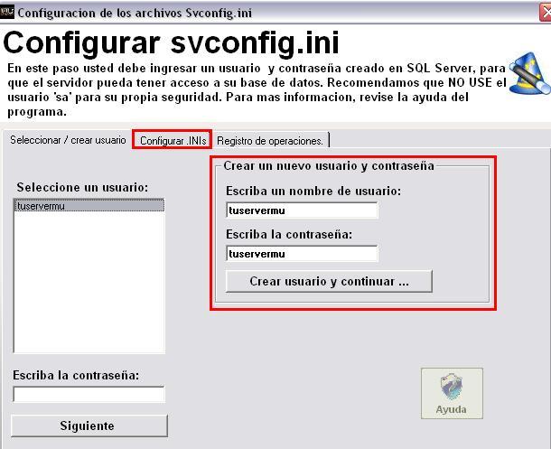 Poniendo nombre de usuario y password