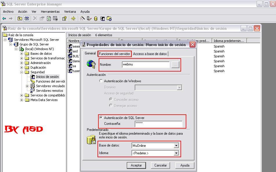 Configurando los datos de nuevo inicio de sesión