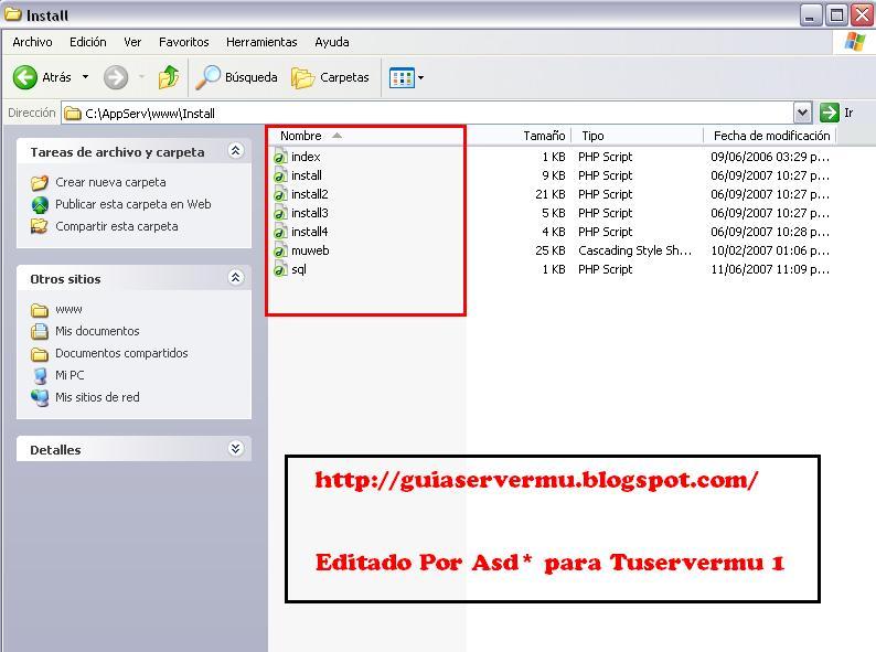 Archivos correspondientes al instalador de la página