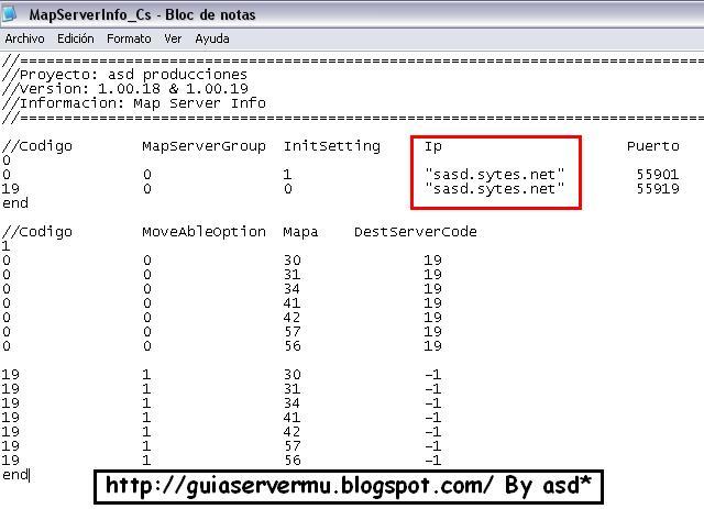 Configurando el mapserverinfo cs con la ip pública