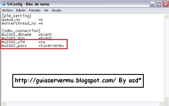 Configuración del svconfig con los datos sql