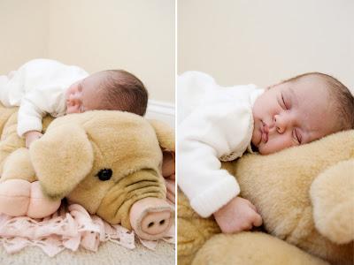 sleeping on mom's stuffed pig