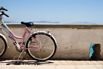 pink bicycle in Spetses, Greece