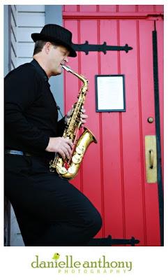 saxophone player & red door