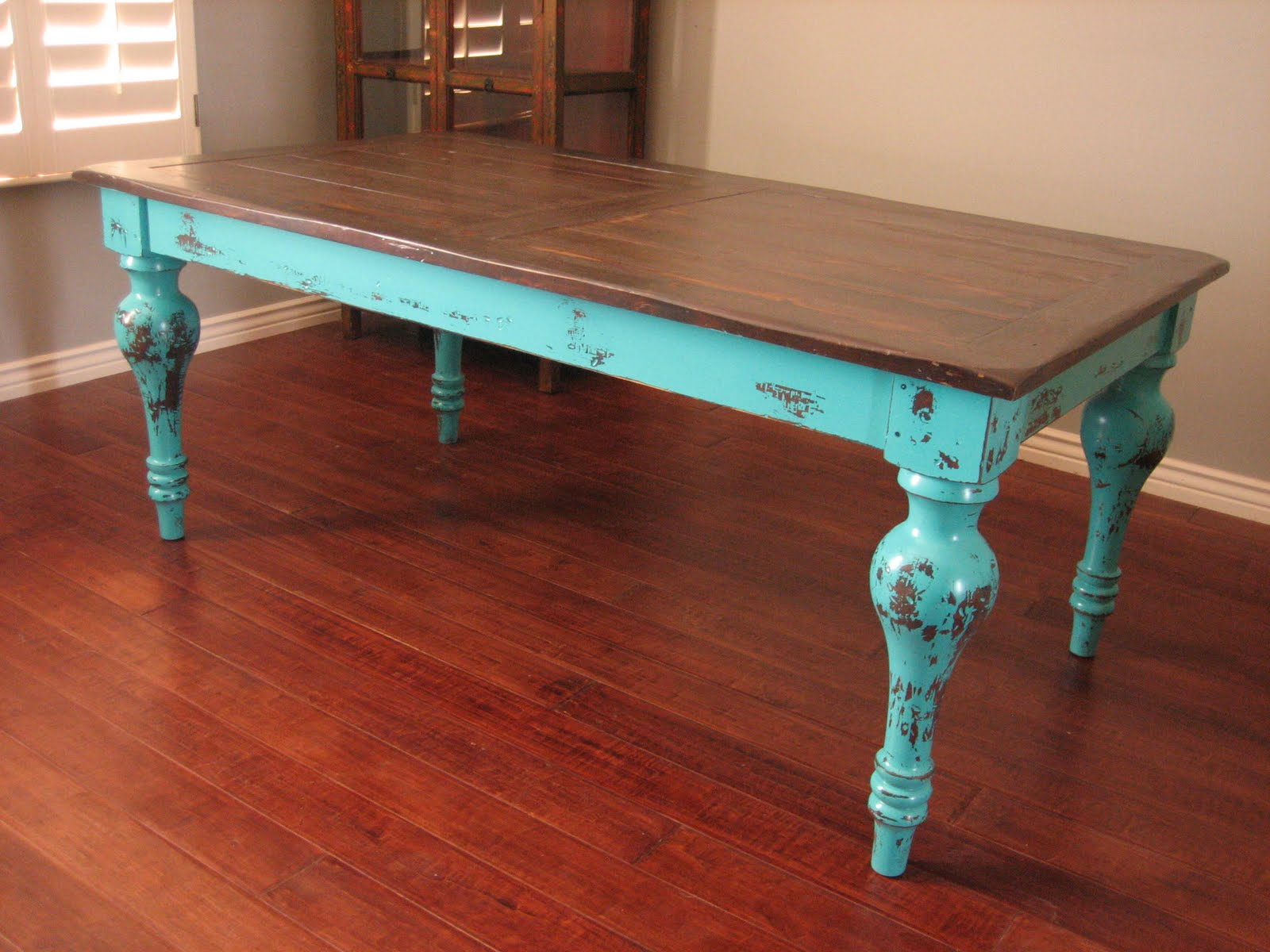 European Paint Finishes Rustic Turquoise Dining Table