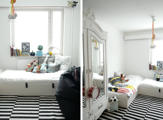 black white yellow black and white with a bit of yellow bedroom