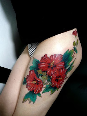 art nouveau flowers tattoos. Flower Tattoo on Arm black