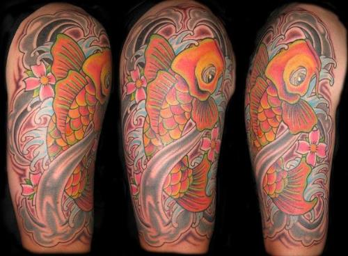 fish tattoo designs. Asian Koi Fish Half Sleeve Tattoo