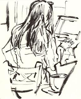 Dibujo chica de espaldas con ordenador