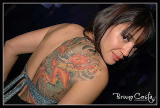 sexy girl big dragon tattoo design on back body