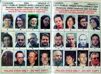 UK police Spotter cards domestic extremism protest activist