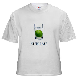 sublime funny t-shirt, glass of water and a lime