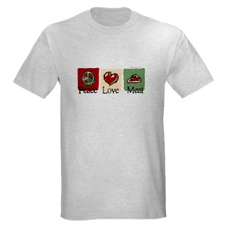 Funny t-shirt for dieters or meat lovers, carnivores or Paleo / primal people. Peace, Love, Meat with steak, heart, and peace sign.