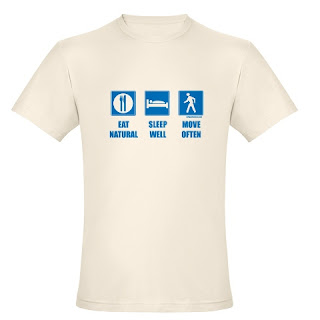 Eat healthy, sleep well, move often, blue traffic safety signs, funny paleo primal t-shirt.