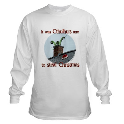cthulhu's turn to steal christmas funny horror lovecraft t-shirt