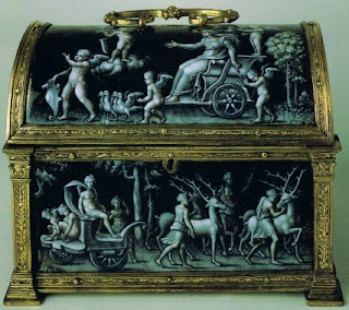 grisaille enamel diana and the wild hunt