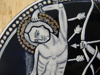 grisaille enamel St Sebastian
