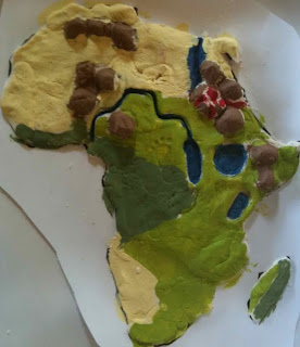 image of a child's salt dough map of the African continent