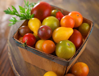 heirloom tomatoes from the farmer's market in a basket
