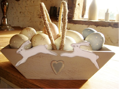 Hares and hearts egg basket by The Seasonal Barn