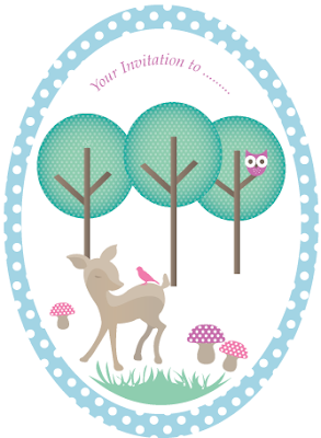 Woodland theme invite pastel by Torie Jayne