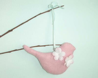 Pink felt Easter bird