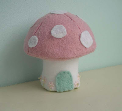Pink felt Easter mushroom