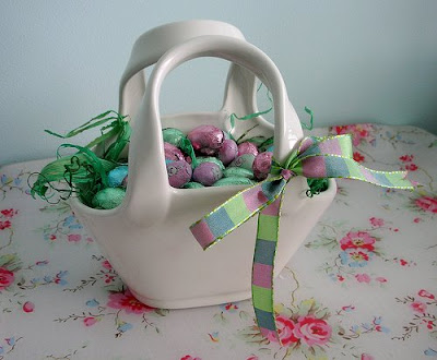 Easter basket with Easter chocolates