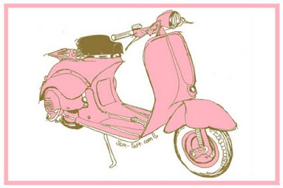 Pink scooter tea towel