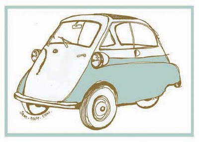 Blue bubble car tea towel