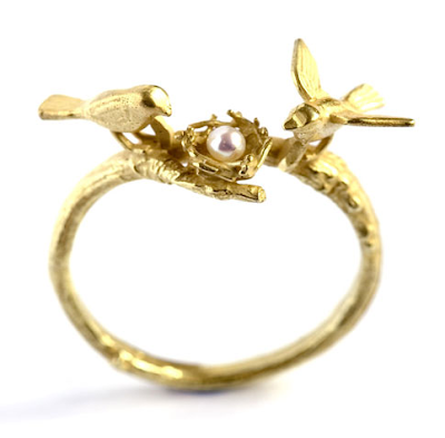 Bird in the nest ring by Alex Monroe