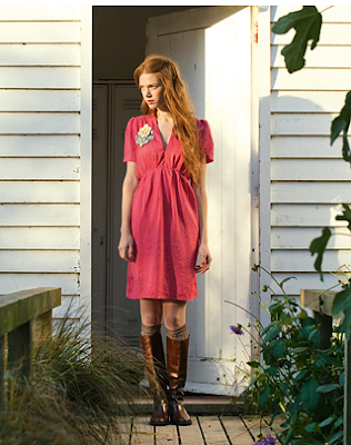 Cerise dress at Salt Water