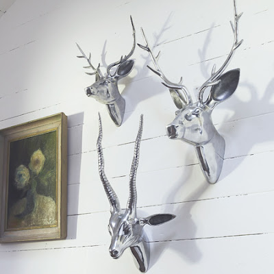 Metal deer heads from Graham & Green