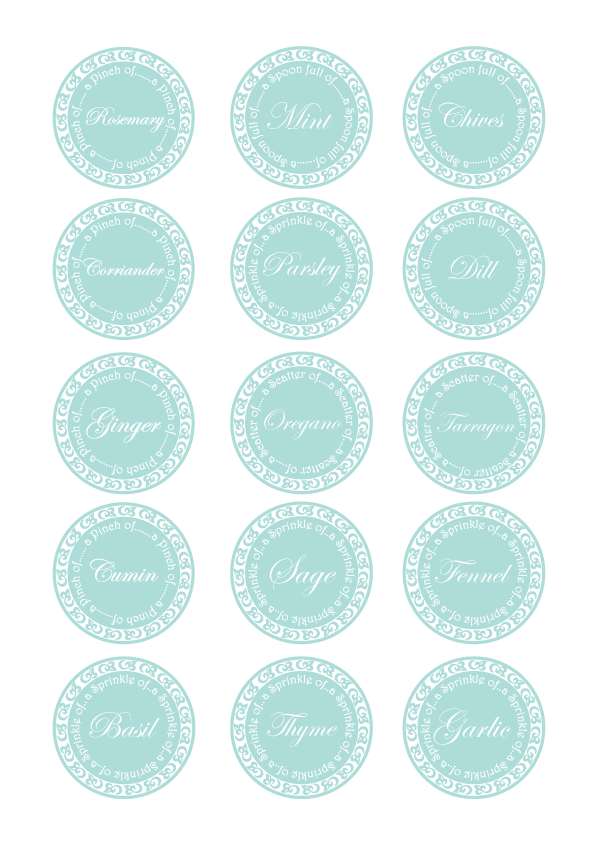 Kitchen Herb Jar Labels by Torie Jayne