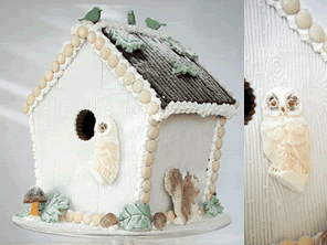 Winter Woodland gingerbread birdhouse by Torie Jayne