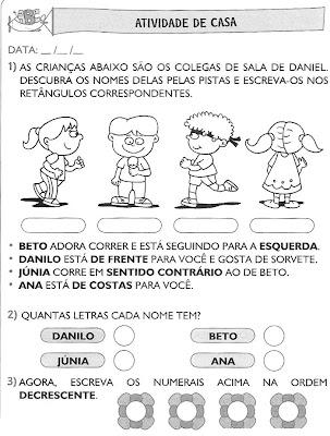 Atividades+para+Casa+(51) Atividades de matemática. para crianças