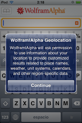 Wolfram|Alpha on iPhone OS