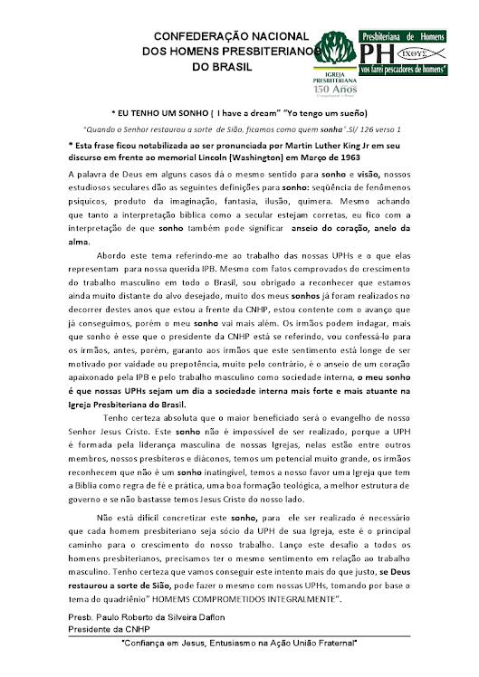 PALAVRA DO PRESIDENTE DA CNHP (2010-2014).
