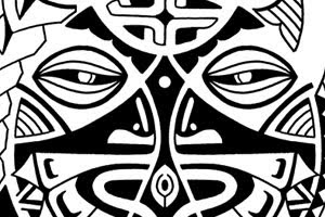 polynesian mask tattoo for shoulder designs