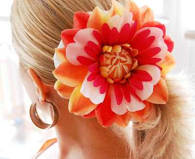 Hair Flowers on Feathered Nest  Flower Clips Tutorial