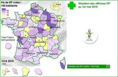 nombre de dossiers pharmaceutiques créés pour 100 habitants au 1er mai 2010, ordre des pharmaciens