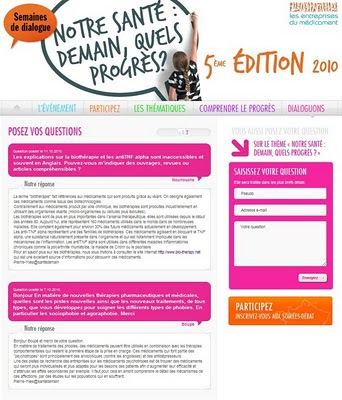 Semaines du Dialogue - 5ème édition 2010, à partir du 11 octobre - sur santedemain.org : Les entreprises du médicament (Leem) répondent aux questions des internautes sur le thème :  notre santé : demain, quels progrès ?