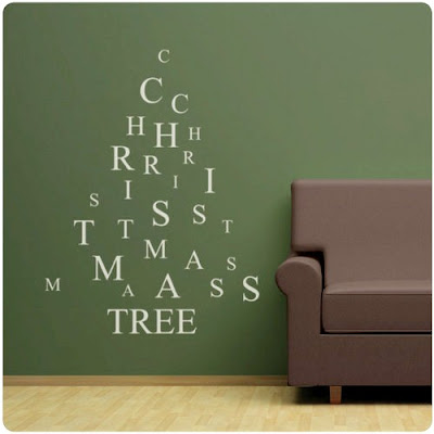 christmas tree wall words
