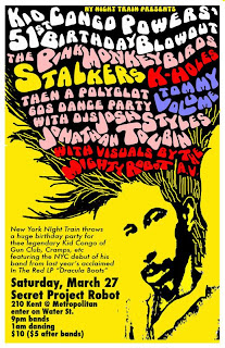 The Stalkers Play Kid Congo's Birthday Party on March 27th at Secret Project Robot