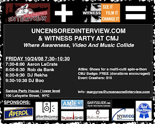 Uncensored Interview & Witness are Holding a Fund Raiser at Santos Party House on Friday, October 24th