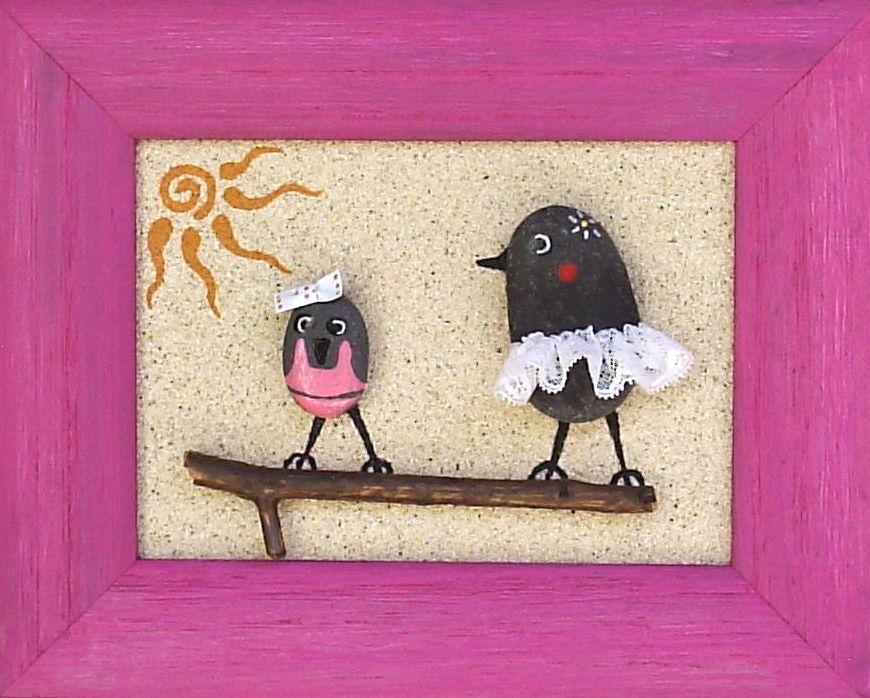 Elhadarenas cuadros de pajaros pintados y decorados con arena y