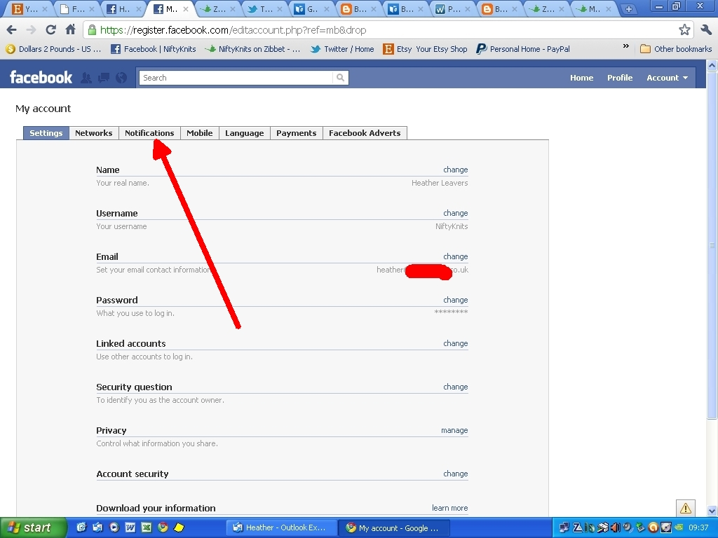 how to change notification email on facebook page