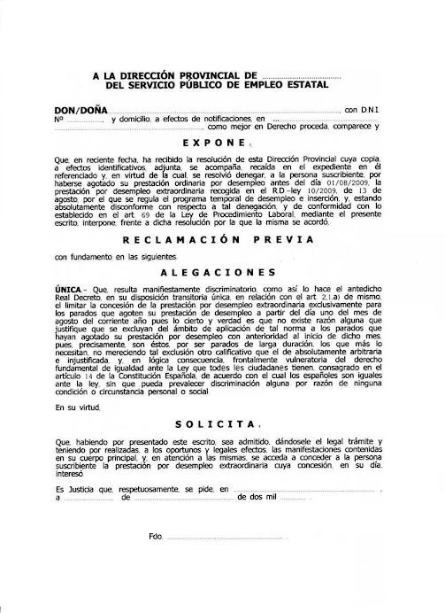 MODELO RECLAMACIÓN PREVIA CONTRA RESOLUCIÓN DENEGATORIA DE PRESTACIÓN DESEMPLEO EXTRAORDINARIA
