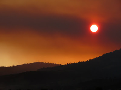 Sunset from Huonville, through smoke - 21 Mar 2007